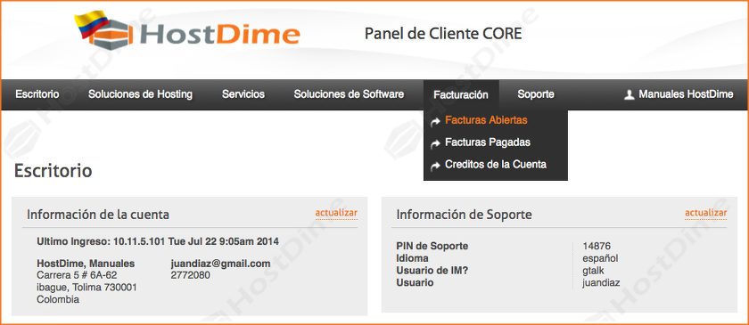 facturas sin pagar portal core hostdime colombia