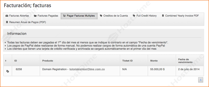 resumen facturas sin pagar portal core hostdime colombia