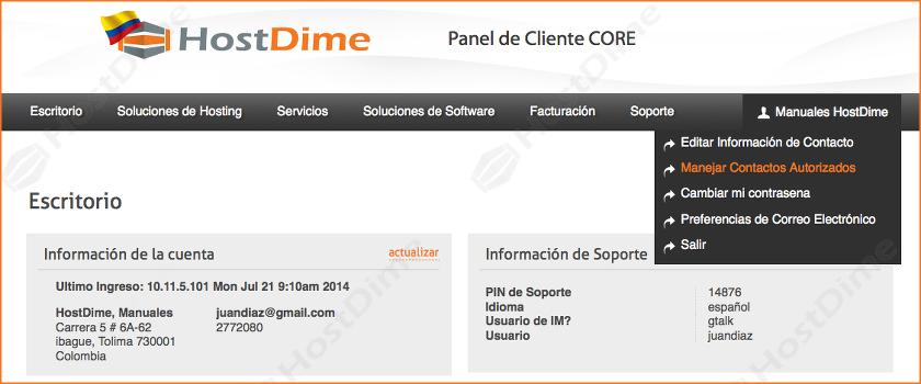 administrar contactos autorizados portal core