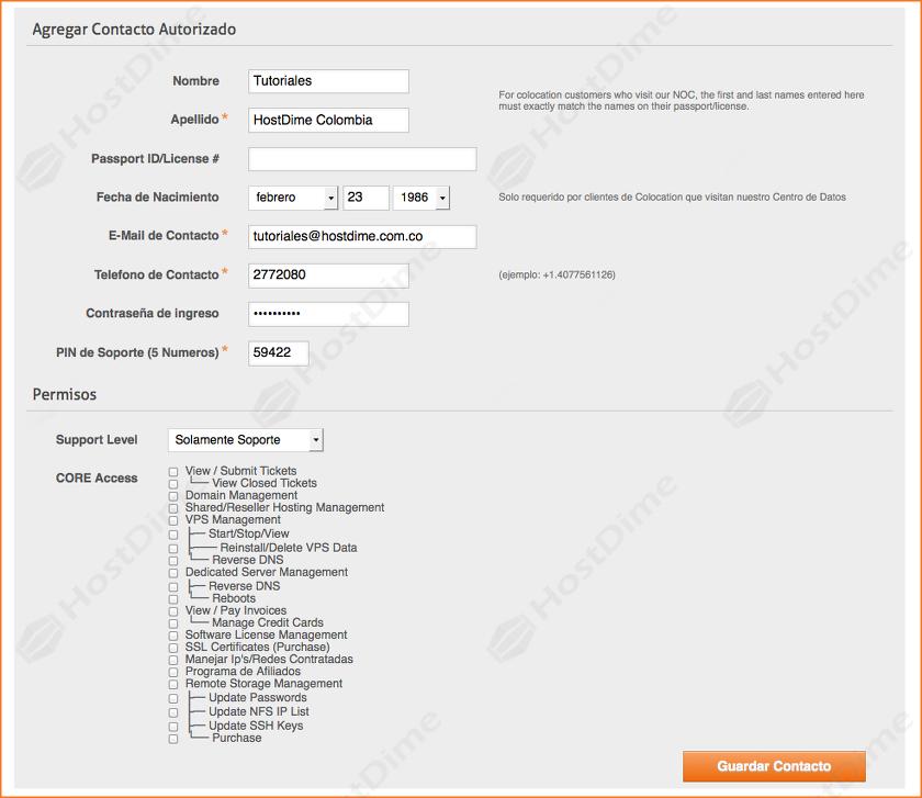 añadir nuevo contacto portal core