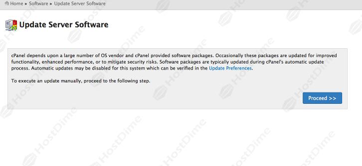 actualizar software servidor desde whm