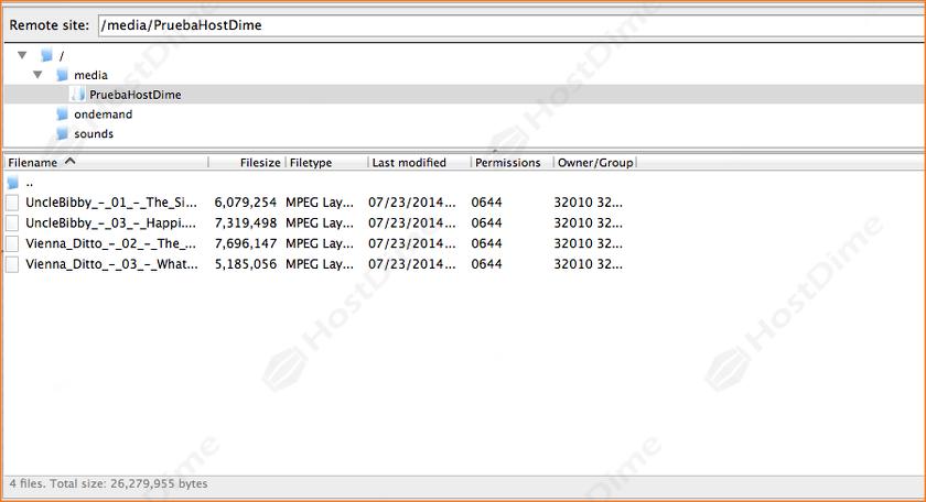 archivos cargados servidor streaming