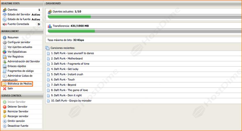 biblioteca de medios servidor streaming