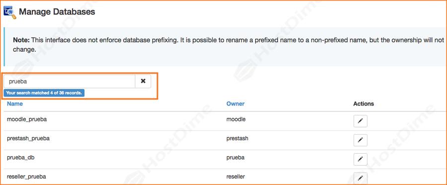 buscar nombre de base de datos en el servidor con WHM