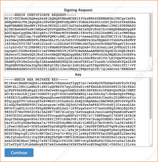 clave ssl generado panel whm