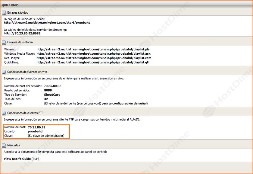 datos acceso ftp servidor streaming