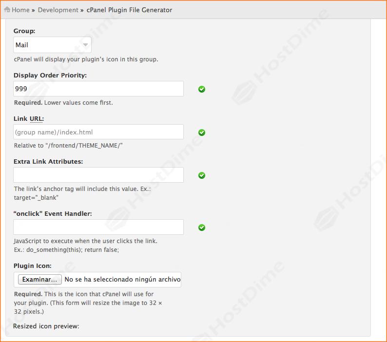 generar archivo plugin cpanel desde whm formulario