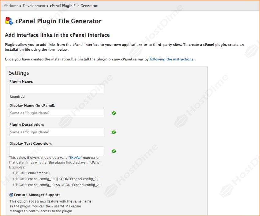 generar archivo plugin cpanel desde whm