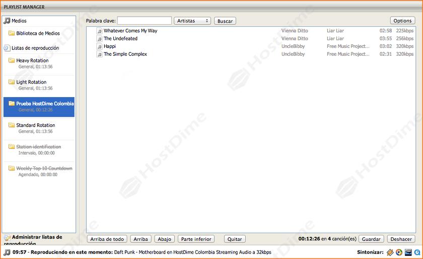 opciones administracion archivos listas de reproduccion