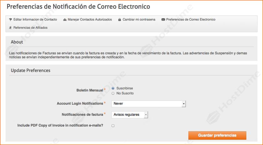 preferencias correo electronico portal core hostdime colombia