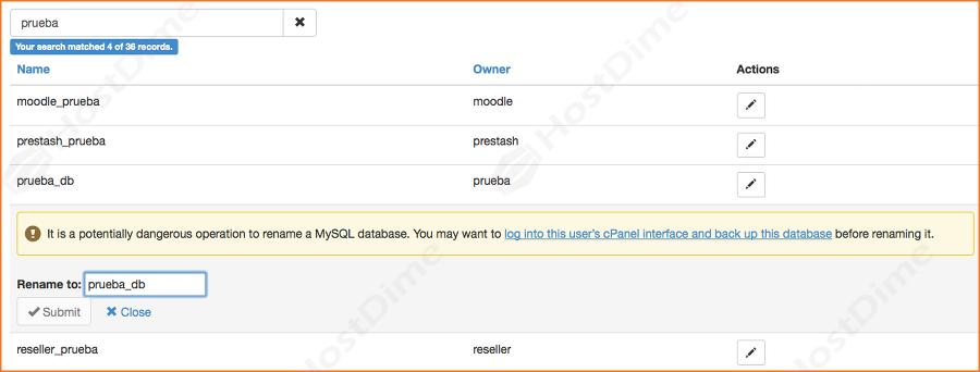 renombrar base de datos en el servidor desde panel whm