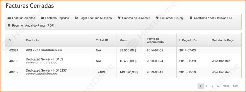 resumen facturas pagadas portal core