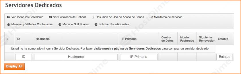 resumen servicios servidores dedicados panel core