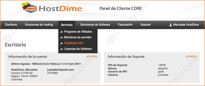 servicios comprar SSL portal core