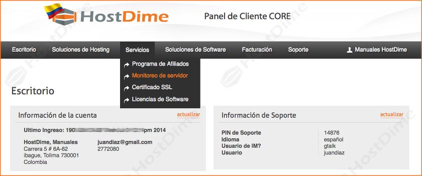 servicios monitoreo del servidor portal core