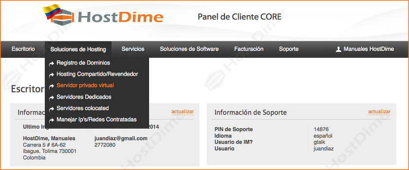 servidores VPS panel core