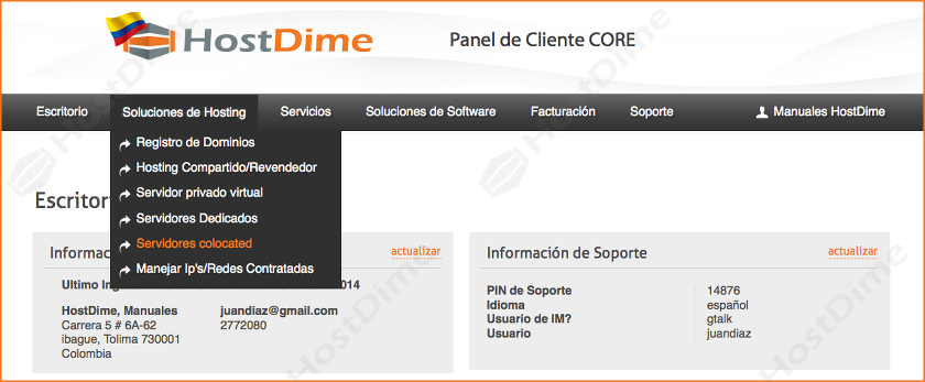 solucion hosting servidor colocation portal core