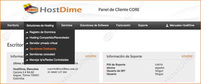 solucion hosting servidor dedicado panel core
