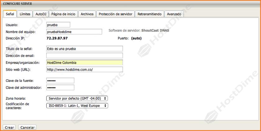 configuracion opciones servicio cuenta nueva