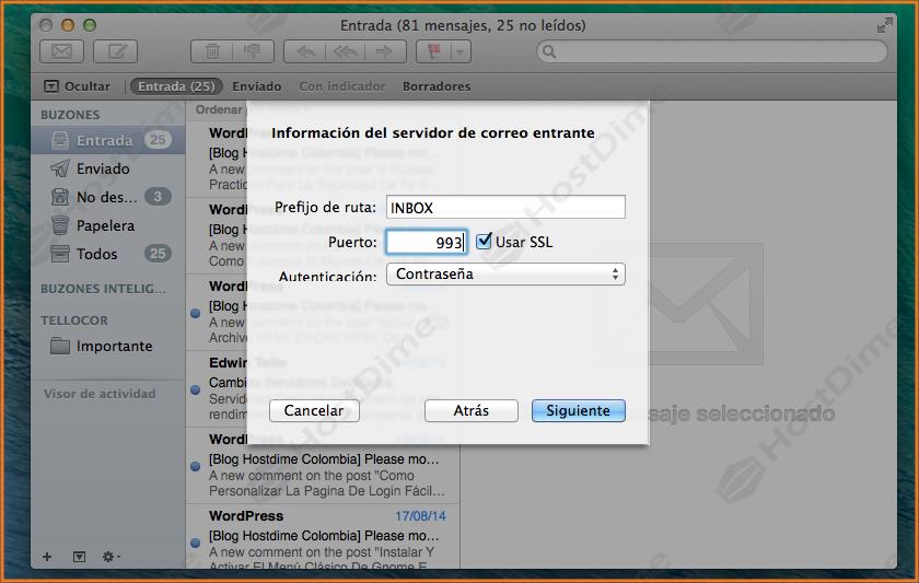 configuracion puerto servidor de correo entrante mac os x