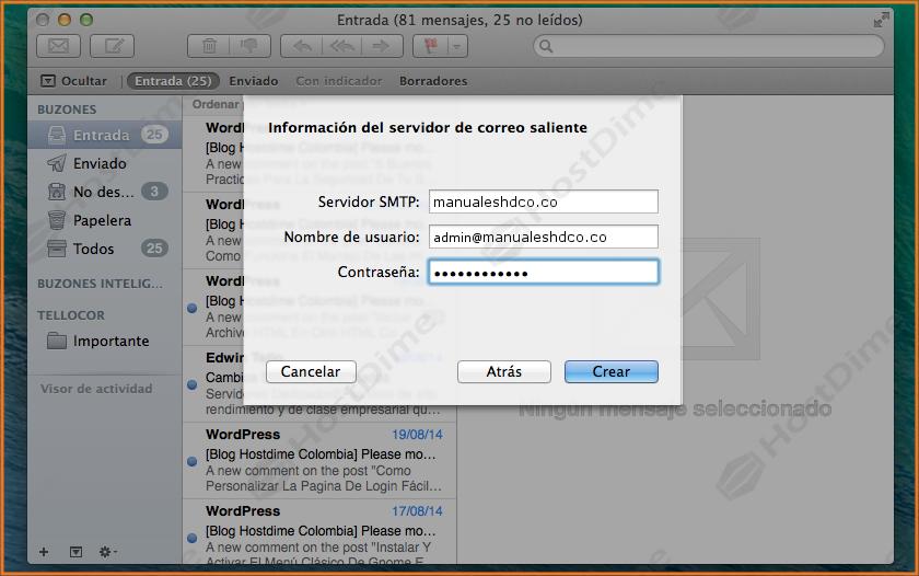 configuracion servidor correo saliente mac os x