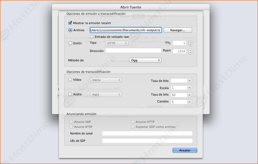 configurar archivo a guardar streaming