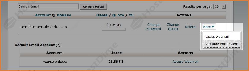 datos configuracion cliente de correo