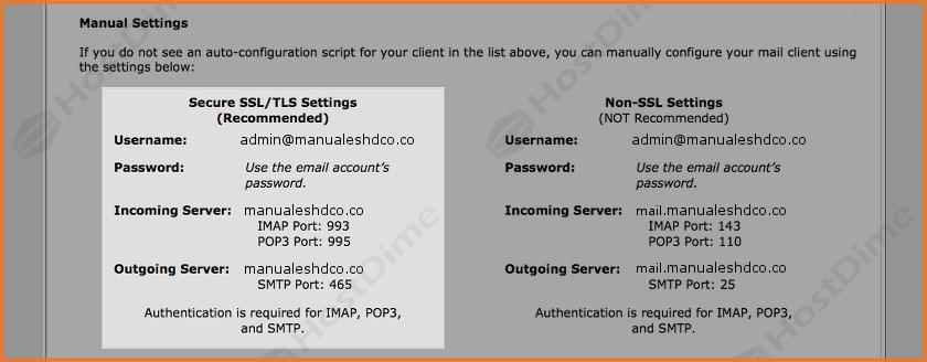 datos configuracion manual cuenta de correo