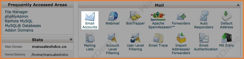 modificar opciones mail cpanel