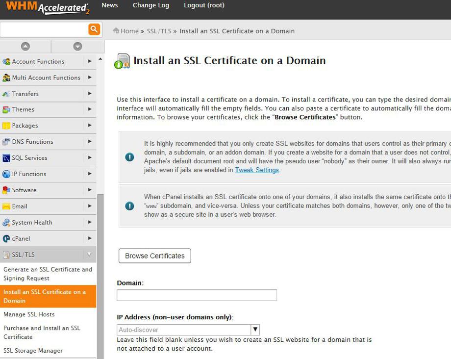 certificado ssl autofirmado desde whm